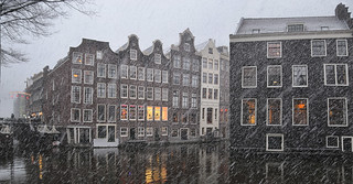 Gabled mansions recall Amsterdam's Golden Age in the wintertime