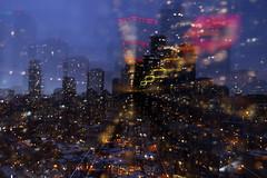 Astro Projection. Blue Dimensions of Sparkling City (Katrin Ray) Tags: astroprojection bluedimensionsofsparklingcity bokehliciouscitydimensions city cityscape bluehour outofbodyexperience longexposure 15sec zooming light colours bokeh zoomkeh sooconlyaddedmysignature downtown toronto ontario canada katrinray dreamscapesoftoronto soocstraightoutofcamera noprocessing canonphotography canon eos rebel t6i 750d