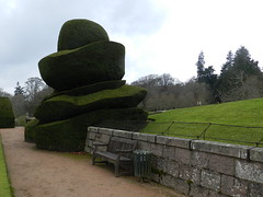 Topiary, Crathes Castle Gardens, Aberdeenshire, Jan 2018 (allanmaciver) Tags: crathes castle topiary detail style skill shapes size aberdeenshire national trust charity wall granite seat grey day overcast enjoy admire allanmaciver