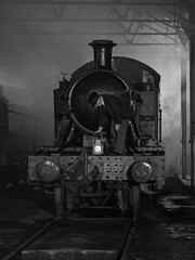 Didcot-Night-17-45 (Dreaming of Steam) Tags: 262t 4575 4575class didcot didcotrailwaycentre gwr greatwestern greatwesternrailway heritage heritagerailways industrial railway smallprairie steam steamengine train vintage engine engineshed locomotive railroad smoke steamlocomotive