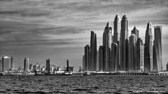 Dubai, United Arab Emirates: Marina skyline (nabobswims) Tags: ae arabiangulf blackwhite dubai dubaimarina hdr highdynamicrange ilce6000 lightroom nabob nabobswims persiangulf photomatix sel18105g skyline skyscraper sonya6000 uae unitedarabemirates