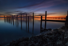 Twilight on the Peace River. (wiltsepix) Tags: reflections bluehour twlught oldpier florida portcharlotte puntagorda peaceriver