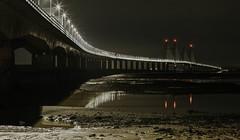 the night crossing... (Jess Feldon) Tags: lookslikefilm longexposure nighttime night nighttimephotogrpahy severnbridge severnestuary bridge crossing lights jessfeldon severnbeach estuary water