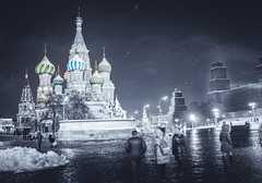 Moscow. Winter Wanderings V. (icarium.imagery) Tags: sonydscrx1rm2 street travel selective color moscow russia redsquare stbasilscathedral night city orthodox basilica church sundaylights