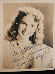 Janet Leigh autographed photo (swampzoid) Tags: vintage janetleigh janet leigh hollywood starlet actress 1950s autograph publicity headshot old psycho sepia