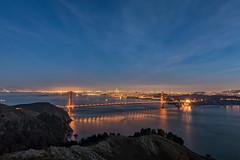 Golden Gate Bridge (KPortin) Tags: goldengatebridge sanfrancisco california bridge night reflections bay water city citylights