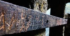 Forgotten Signatures (benjamin.t.kemp) Tags: fence wood inscriptions markings colour detail