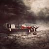 The Baggage We Carry (Jen Kiaba) Tags: boat ocean woman girl moon storm shipwreck baggage alone night reddress sqaure texture