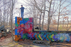 Martin at the Quincy Quarries. (brooksbos) Tags: afternoon art brooksbos brooks cybershot color colour colours colorful dscrx100m2 family fun friendship friend geotagged landscape massachusetts man nature newengland outdoors portrait quarry quarries quincy rx100m2 rx100 sony trees woods paint graffiti