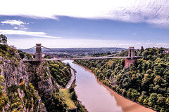 Clifton bridge over the river (Paul Wrights Reserved) Tags: bristol cliftonbridge cloud sky river view scene scenic landscape bridge cliff skyscape tree trees leadinglines suspension suspensionbridge road manmade structure building