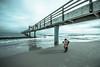little photographer (Zscherny) Tags: photograph bridge brücke see sea meer water wasser himmel sky clouds cloud horizon ostsee usedom wave welle sand beach blue digital foto mädchen frau girl woman