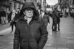 Off Kilter (Leanne Boulton) Tags: people portrait urban street candid portraiture streetphotography candidstreetphotography candidportrait streetportrait eyecontact candideyecontact streetlife old elderly man male face expression eyes glasses hood look mood emotion cold winter tone texture detail depthoffield bokeh naturallight outdoor light shade city scene human life living humanity society culture canon canon5d 5dmarkiii 50mm primelens ef50mmf14usm black white blackwhite bw mono blackandwhite monochrome glasgow scotland uk