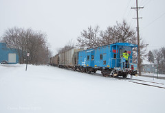 Going Old School (Wheelnrail) Tags: ns norfolk southern conrail train trains emd sd402 locomotive local l10 l12 railroad rail road springfield snow winter cold nyc signal signals iory shortline connection rails
