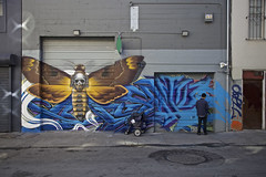 Moth Man Mail Man (Generik11) Tags: art murals graffiti people usps mailman mothman architecture sf gwsf foundinsf