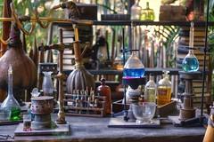 Lab in the jungle (PeterThoeny) Tags: disneyland anaheim california indianajonesadventure indianajones adventure jungle lab laboratory flask table burner hdr 1xp raw nex6 sel50f18 photomatix qualityhdr qualityhdrphotography fav100