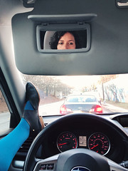 31/365 (moke076) Tags: 2018 365 project 365project project365 oneaday photoaday iphone cell cellphone mobile vscocam vsco self selfie me portrait foot feet driving car traffic atlanta ga rushhour sevillasmith chiara booties handmade bespoke subaru forester mirror reflection blue tights steeringwheel waiting