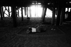 Untitled (ajkpix) Tags: pier beach bw blackandwhite woman people carlzeiss