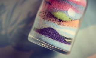 Colored sand in a bottle