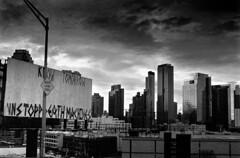 two signs (V-A-B) Tags: blackwhite analog film diafine f3 ilfordhp5 signs nikonf3 longislandcity queens newyorkcity longislandexpressway