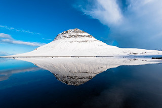 Kirkjufell reflected in water