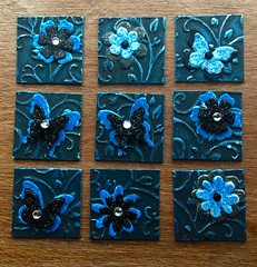 Black & blue inchies (CraftyBev) Tags: embellishments inkagold embossing blackblue swap inchies