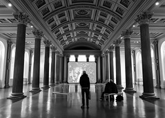 Glasgow Gallery of Modern Art (Spannarama) Tags: galleryofmodernart glasgow scotland uk ceiling architecture blackandwhite tv screen art pillars columns man reflections lightanddark