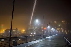 Flight Path (Clayton Perry Photoworks) Tags: vancouver bc canada winter explorebc explorecanada night lights richmond riverrockcasinoresort airplane stream light fog boardwalk