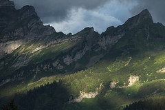Mountainscape (David K. Marti) Tags: mountain mountainscape mountainrange peak top rock formation massive slope arete landscape scenic scenery sky clouds weather trees forest woods alps alpine europe european travel travelling traveling nature natural outdoors outdoor outside country countryside light shadow day daylight sun sunlight shadows color colored colour colorful blue green yellow white black grey gray season seasonal summer stone culan