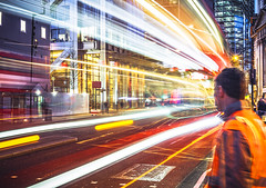 Look right (danpower123) Tags: london londoners taxi light line long exposure sony a6000 colour colourful night photography photographer movement streaks bus red orange