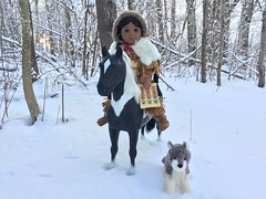 4 On horseback (Foxy Belle) Tags: american girl doll snow kaya horse native braids dog woods journey trees winter fur hide leather ride 18 ag thrift store douglas toy wolf