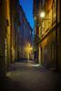 Nightfall in Gamla Stan (Dan Haug) Tags: baggensgatan gamlastan stockholm sweden scandinavia nightfall quiet longexposure cobblestone street nopeople fujifilm xf1655 xf1655mmf28rlmwr residenceperseus