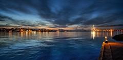 A calm evening, Norway (Vest der ute) Tags: sea seaside quay xt2 norway rogaland haugesund sky clouds bluesky buildings rig cranes light evening houses fav25 fav200
