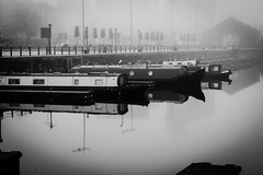 Quiet times (jmiller35) Tags: digital canon docks boats barge river water outdoors morning mist fog seascape albertdock liverpool blancoynegro bw blackandwhite