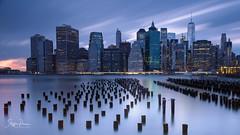 New York Skyline (svpe4711) Tags: night usa d750 manhattan pier skyscraper newyork ny longexposure blue bluehour downtownskyline nyc urban eastriver architecture city america citylights clouds brooklynbridgepark