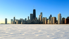 Hancock Tower over frozen Lake Michigan (dpsager) Tags: chicago dpsagerphotography lakemichigan lakefront northavenue winter