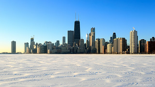 Hancock Tower over frozen Lake Michigan