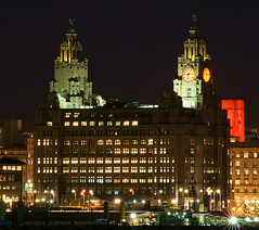 The Liver Buildings (Colin__Murray) Tags: liverpool port mersey merseyside england uk building britain listedbuilding architecture sky sony waterfront docks harbour night lowlight photography pierhead river heritage city lights clock unesco colour color red green liverbirds magnificent beautiful time face