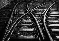 Points (Rogpow) Tags: bethesda felinfawr penrhynquarryrailway railways wales narrowgauge northwales mono monochrome bnw blackandwhite bw track railway sleepers points abandoned disused