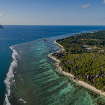 Amazing beach Anse Source d'Argent aerial, La Digue Seychelles thumbnail