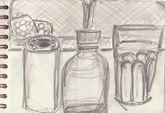 Die Welt in meinem Wohnzimmer (raumoberbayern) Tags: zeichnung drawing sketch sketchbook skizzenblock dina5 wohnzimmer livingroom robbbilder graphite grafit stillife stillleben naturemorte fernsehen tv