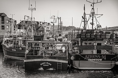 Getting ready to go to work….. (AJFpicturestore) Tags: padstow cornwall workingharbour boats fishermen workingboats kerrymarie athena monochrome alanfoster