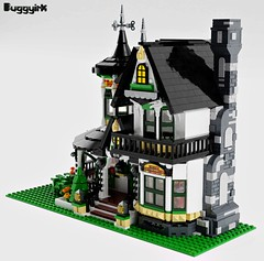 LEGO Ideas Victorian Dream Home - exterior right corner (buggyirk) Tags: building whimsical district creator house queen victorian modular buggyirk historic architecture historical home anne dream lego afol moc dark purple lavender lilac magenta city fireplace exterior garden turret tower gable finial stained glass window porch brick built stairs pillar flower tree bush ideas legodreamhome fantasy whimsy miniature cottage sky mecabricks