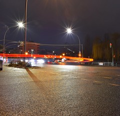 Winging It (Robin Shepperson) Tags: lights traffic exposure long germany berlin moabit bridge cars red yellow night d3400 nikon evening dark buildings tree willow weeping shrubs lines amateur box grit street lamps light junction