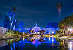 Tranquil Reflections. (ihikesandiego) Tags: balboa park bontanical building lily pond san diego long exposure night photography water