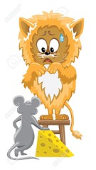 Lion and mouse with cheese (errAssan) Tags: lion cat feline kitty mouse mice rat stool chair fear frightened scared scary dread afraid boggle funk conflict versus meet kitchen fun funny cute fur cheese food drop blob wood cartoon animal big little grey orange illustration vector isolated drawing
