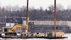 Barge N164 (blazer8696) Tags: 2018 comet ecw hudson milton ny newyork river t2018 usa unitedstates boat tug tugboat barge digger excavator hoe img9725 komatsu n164 trackhoe