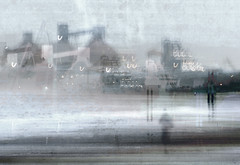 North Blyth Lights (Ali's view) Tags: northblyth silos terminal beach walk pastels lights january dull sea calm coast sand testure multipleexposure layers icm intentionalcameramovement northeast