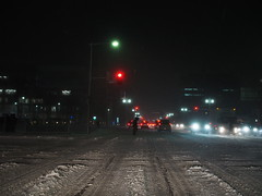 pedestrian crossing (murozo) Tags: pedestrian crossing night signal snow winter car light intersection akita japan 横断歩道 夜 信号 車 雪 冬 光 交差点 秋田 日本