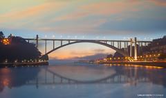 Arrábida Bridge (carloscosta77) Tags: porto portugal bridge arrabida douro river water reflection mirror sky lights night sunset dusk