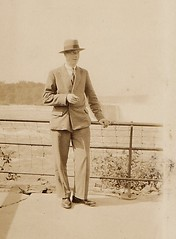 Standing in front of the American Falls 1930's (Bury Gardener) Tags: blackandwhite bw snaps scans 1930s sepia vintage oldies old usa america